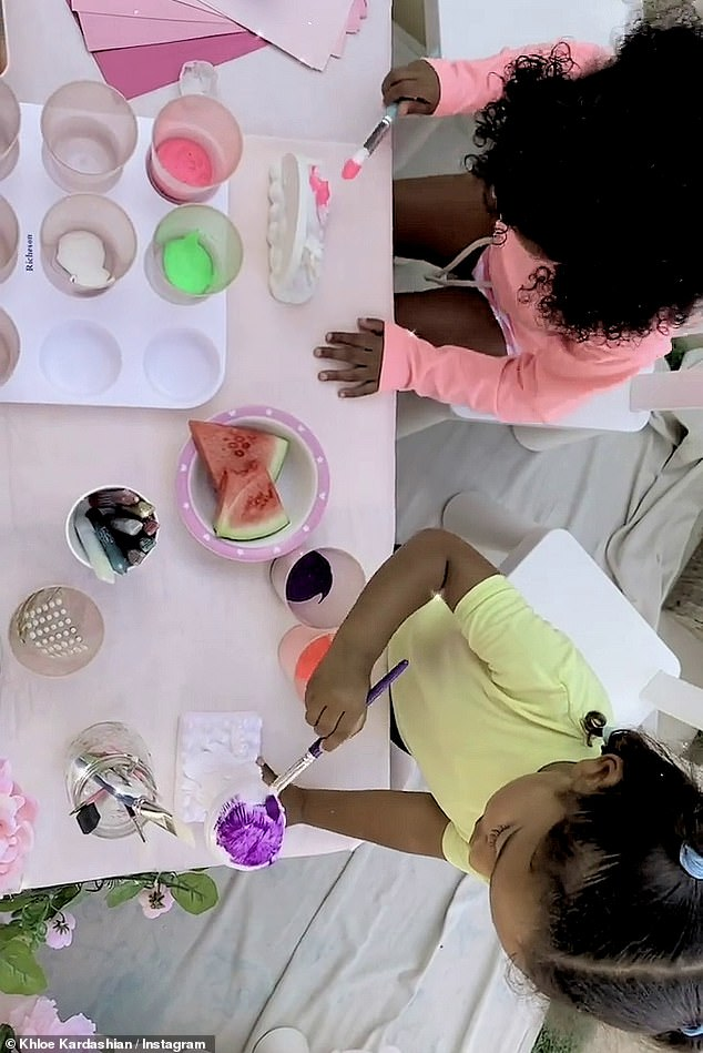 So sweet:The 36-year-old reality star made sure to include her nieces Chicago West (bottom), three, and Dream Kardashian, four, (not pictured) in the festivities
