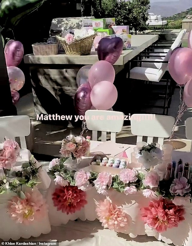 Swanky:Khloe affectionately posted footage of Thursday's paint party to her Insta Stories and showed off the lavish arrangements