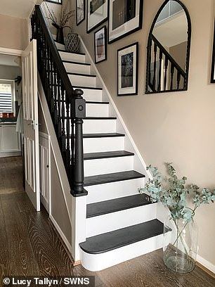 Pictured, her stairs after the renovation