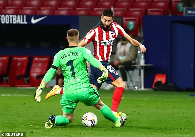 Atletico came out on top the last time they played Barcelona with Yannick Carrasco on target