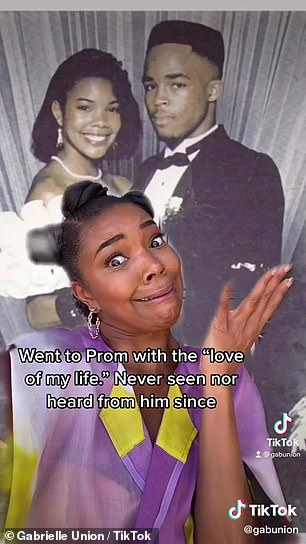 """Past love: Gabrielle posted a clip of her posing in front of a photo of her teenage self from the event with 'went to Prom with the """"love of my life""""' written over it"""