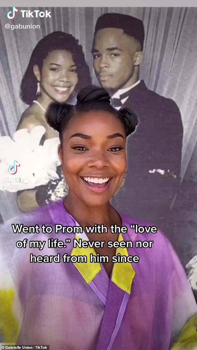 Ageless: Three decades later and the star still looked like the spitting image of her school days self.She stunned in a purple and green blouse and hoop earrings in the video, while her made up face looked practically identical to the throwback snap behind her