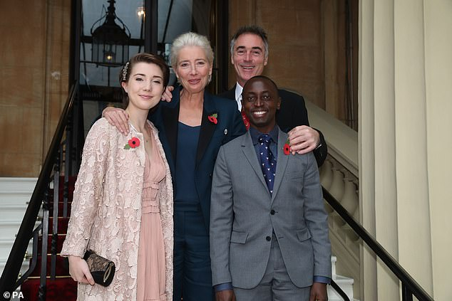 Family: Emma resides in London with her thespian partner.  They share daughter Gaia Wise, 21, and adopted son Tindyebwa Agaba Wise, 27 (pictured in 2018)