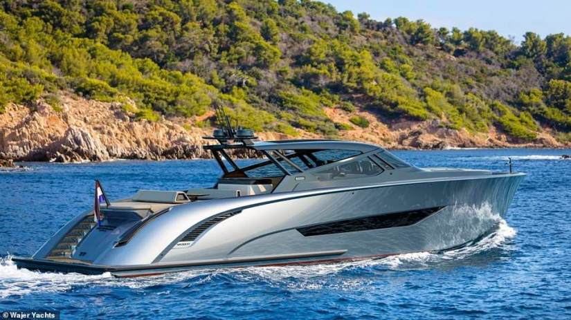 Ferry impressive: The massive water craft offers the best in luxury lifestyles, with maximum comfort provided through 'deck cooling, a hybrid fender system, an automatic roof and an electrically adjustable deck lay-out,'