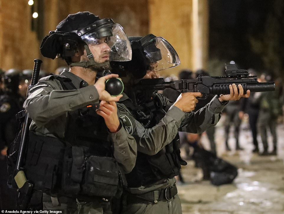 Calls for calm and restraint poured in on Friday from the United States and the United Nations, with others including the European Union and Jordan voicing alarm at the possible evictions. Pictured Israeli police