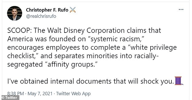 Journalist Christopher Rufo broke the news of Disney's internal training methods that incorporated race theory into company guidelines