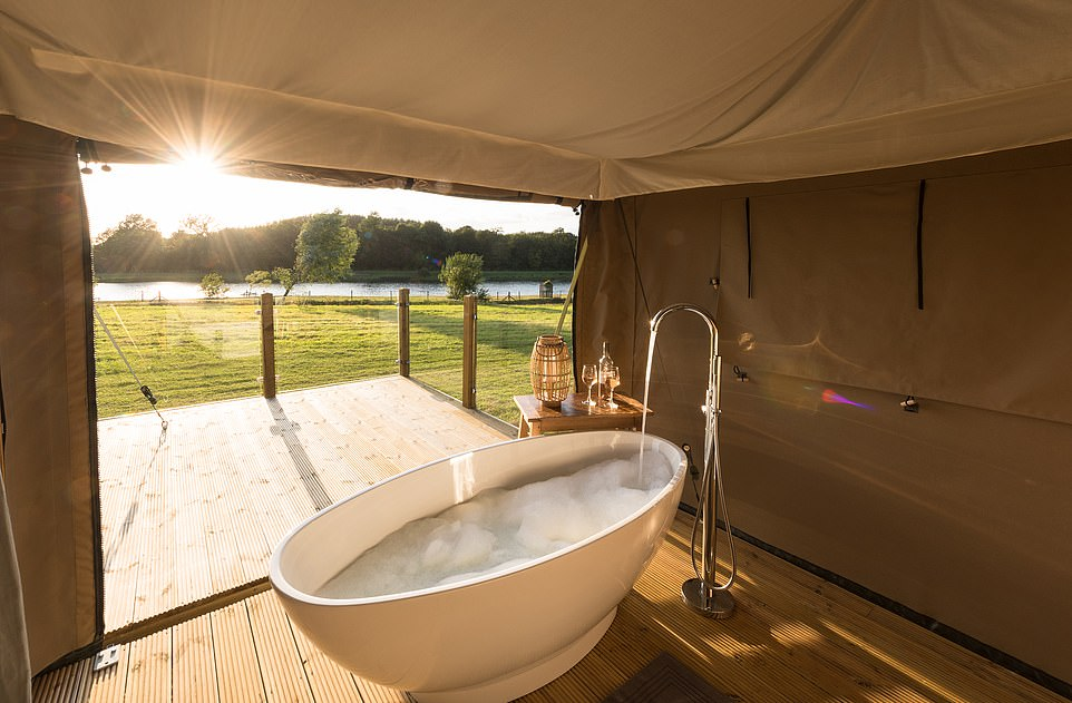 A free-standing bath in one of the three stylish abodes at Luxury Glamping in Lincolnshire