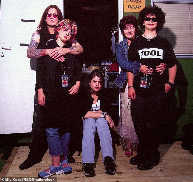 Honest: In a 2015 interview, Aimee said of not appearing on The Osbournes, 'Back then, I still felt I was trying to figure out who I was in the chaos of family life, so why on earth would I want that portrayed on television?' (the entire family is seen in 2002)