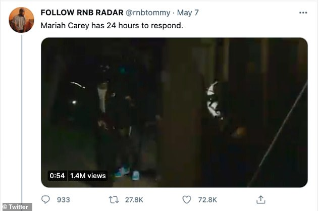 Ultimatum: A clip of the accompanying video went viral on the social media platform after RNB Radar CEO Tommy Banks posted it with the caption: 'Mariah Carey has 24 hours to respond' '