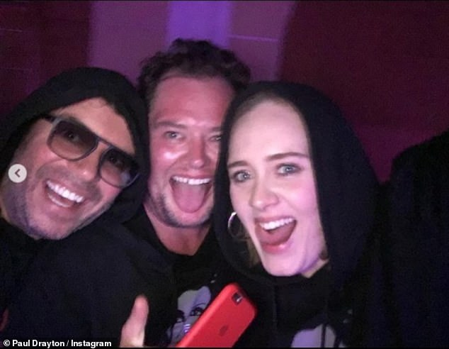 """Alan said: 'I was hoping to stay with Adele but she left """"Why don't you stay at this hotel?"""" (photo: Alan, her husband Paul Drayton and Adele for her 33rd birthday)"""