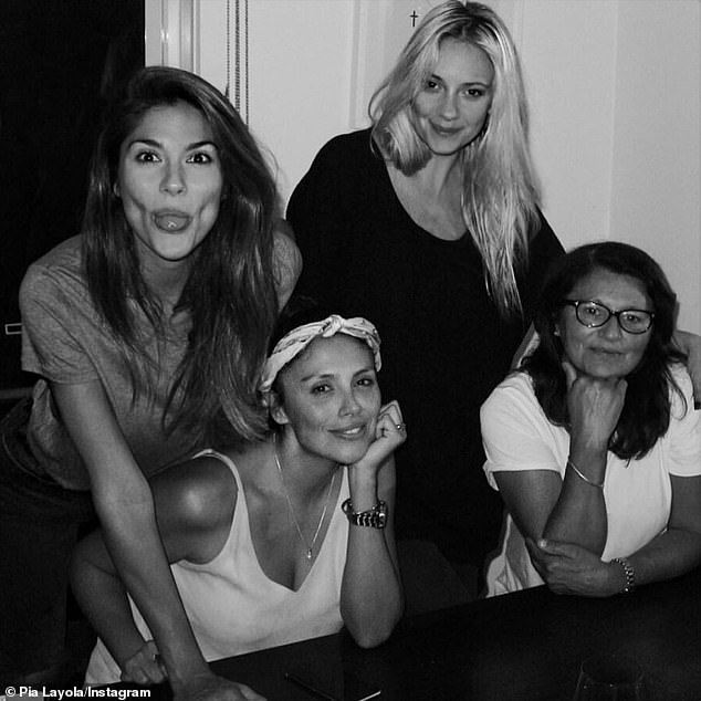 'Hey mumma!' Pia Miller (far left) celebrated Mother's Day with special social media tributes on Sunday. Pictured with sister Paz (second left), sister-in-law Steph (second right) and mother Angelica Blanco (far right)
