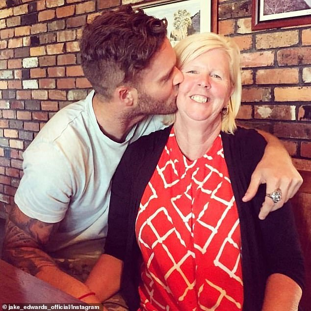 'It was extremely tough... I'm a mummy's boy': Jake Edwards, 32, has revealed it was difficult to be separated from his parents while filming Married At First Sight last year. Pictured with his mum Lyn, last Mother's Day