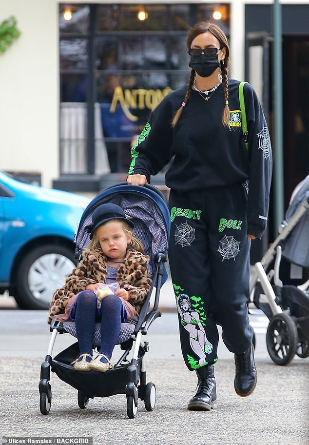Stylish: Irina Shayk was the cool mom every moment as she dated four-year-old daughter Lea De Seine in a cutting-edge tracksuit on Mother's Day weekend in New York on Saturday
