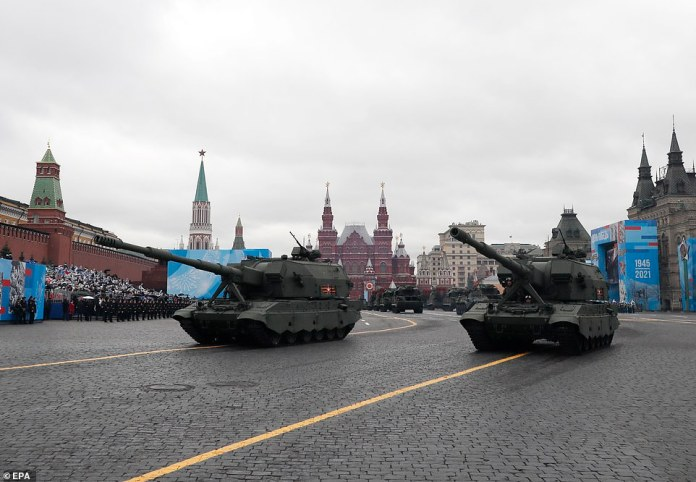 Russian MSTA-S self-propelled artillery howitzers take part in the Victory Day military parade on Red Square in Moscow, Russia