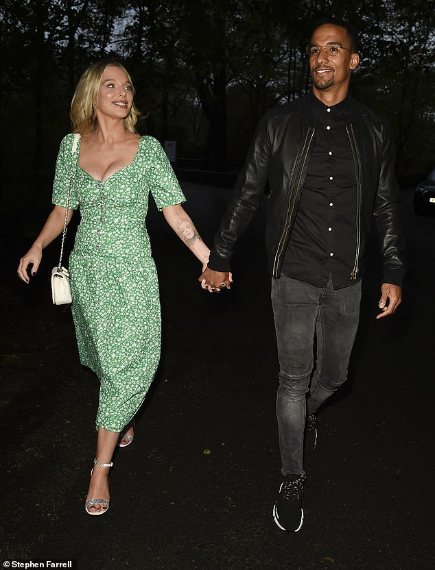 Looks great: The former Coronation Street actress wore an airy floral sundress while dining with the Preston North End footballer in Cheshire