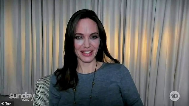 Stunner: The Hollywood star showed off her lineless face and porcelain skin as she discussed filming her new action epic in New Mexico