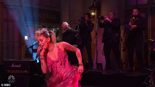 Musical guest: Saturday's episode featured Miley performing two songs, including the eponymous track from her latest album Plastic Hearts