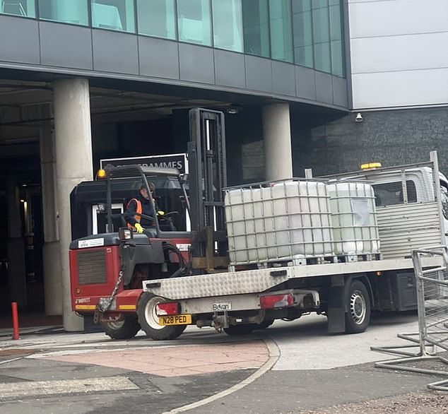 Trucks were seen outside Old Trafford as Man United appeared to enhance security measures