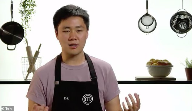 Mistake:While attempting to create a carbonara, Eric Mao (pictured) couldn't emulsify and create the sauce because his pan was too hot