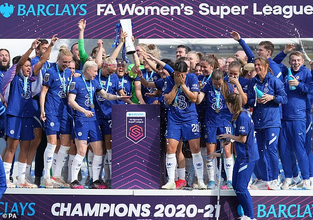 Chelsea have won a record fourth FA Women's Super League title, after beating Reading 5-0