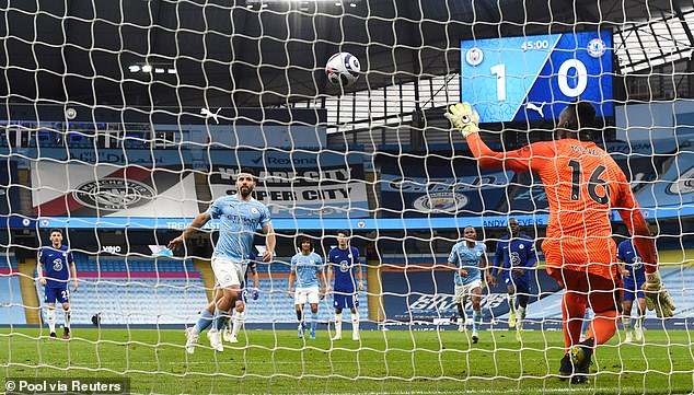 Sergio Aguero's attempted Panenka failed in embarrassing fashion in 2-1 defeat by Chelsea