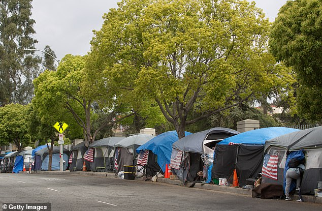 Crisis: Venice has seen a vast increase in homelessness and crime since the COVID-19 pandemic gripped Los Angeles, with hundreds of tents now lining the beach's famous boardwalk