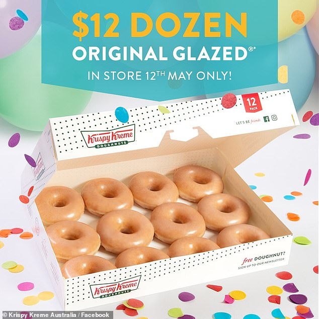 For one day only, customers can buy a dozen of freshly glazed doughnuts for just $12, normally $21.95 a box, on Wednesday, May 12