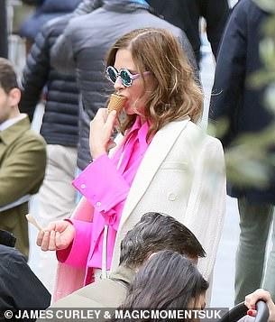 Ice cream: The TV star enjoyed an ice cream cone on a sunny day