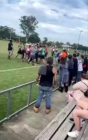 The incident then escalated when more than 20 other parents ran to the pitch and became involved