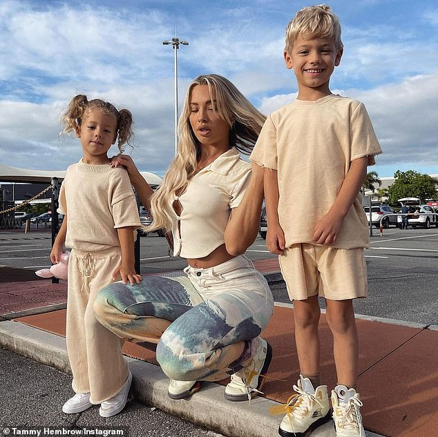 Getting serious:Tammy and her surfer beau went public with their romance in September last year. He seems to be getting on wonderfully with Tammy's children, Wolf and Saskia, whom she shares with her ex-partner Reece Hawkins