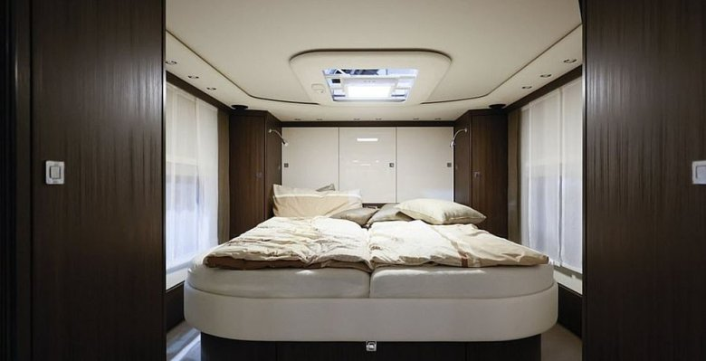 A peek at the spacious bedroom inside theMorelo Grand Empire. The vehicle is 39.3ft (12m) long