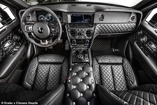 Interiors: The black leather inside the expensive car is patterned with gothic crosses