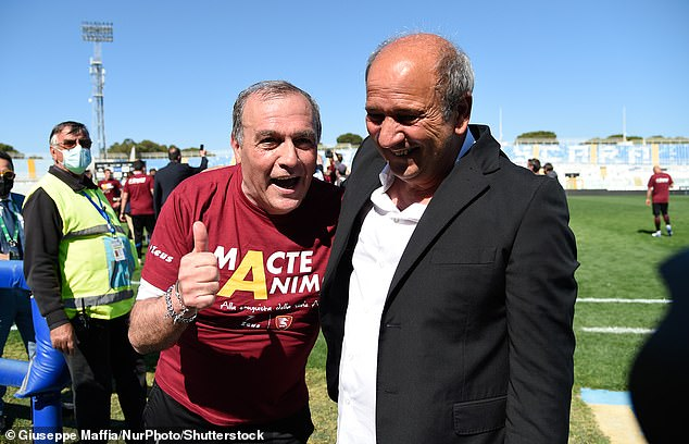 Fabrizio Castori's (left) players success means Lotito must sell as league rules prevent controlling stakes in more than one club in the same division due to a conflict of interest