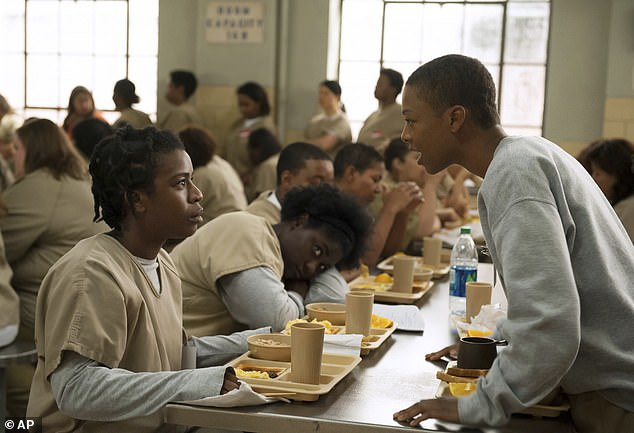 Her other series: Samira, right, with Uzo Aduba, left, in a scene from Orange is the New Black