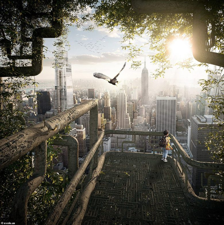 A rendering of the view from the 'Living Skyscraper of New York.' The eco-friendly concept would address the needs of the city's growing population while combating the decline in green spaces and the impact of construction on the environment