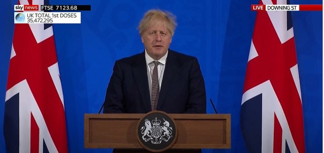 Flanked by medical and science chiefs Chris Whitty and Sir Patrick Vallance at a Downing Street briefing, Boris Johnson urged people to be cautious, saying the country must remain 'vigilant' about fuelling cases and the threat from variants