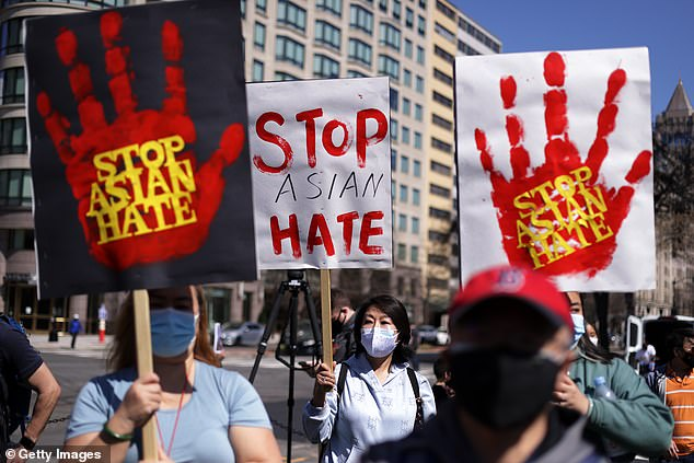 Protesters take to the streets of Washington DC to demonstrate against Anti-Asian racism in Washington DC on March 21, with libraries now in the spotlight