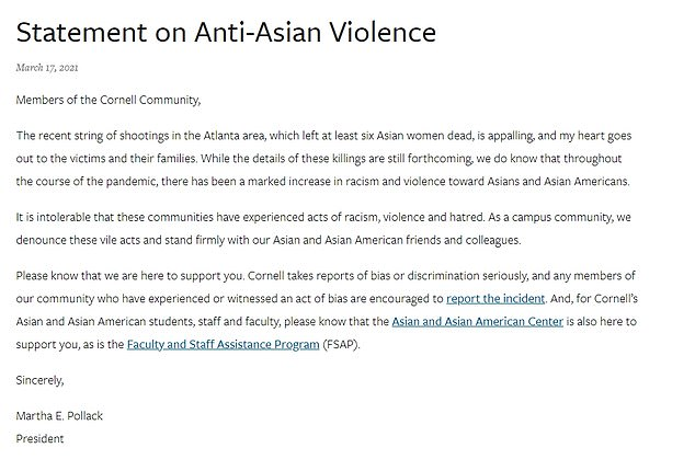Cornell University issued this statement following the shootings in Atlanta that targeted the AAPI community