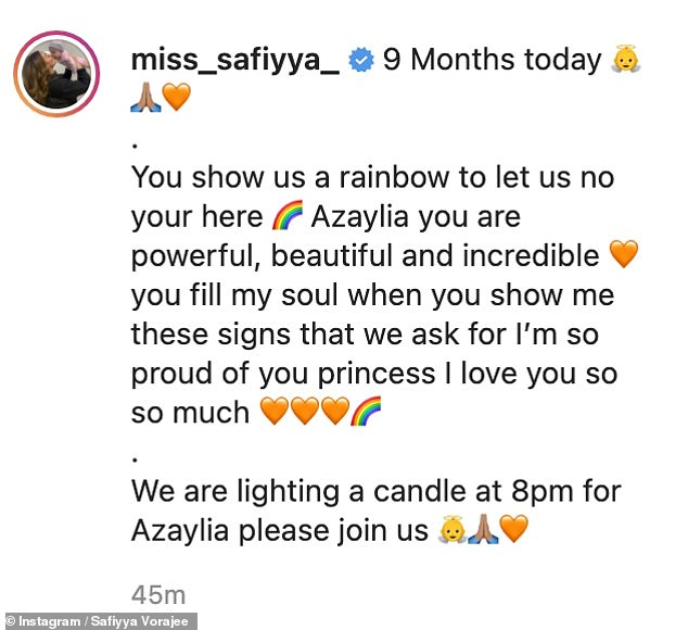Doting mama: Safiyya shared two images of Azaylia as well as the rainbow clip, calling her late little girl 'powerful, beautiful and incredible' in the caption