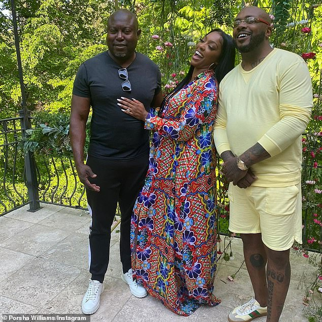 Surprising:In the Mother's Day snaps, Porsha and Simon were joined by the father to two-year-old daughter Pilar Jhena and ex-fiance, Dennis McKinley, leaving many fans confused