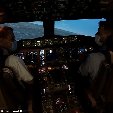 Captain Bridger lets Ted get a feel for the 777's turning circle before coming in to land