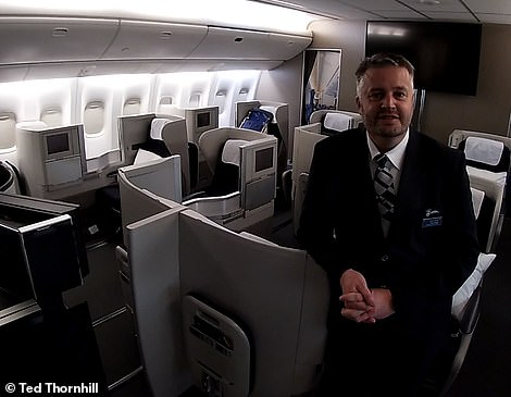 Mr Whipp, pictured here in BA's mock business class cabin, said: 'Aviation is ready ¿ and British Airways is ready ¿ to welcome people back. And they'll have a lovely time'