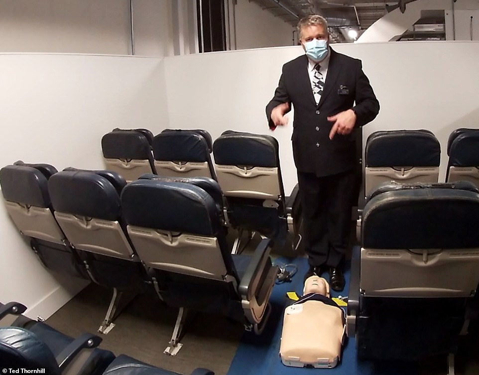 Here Mr Whipp reveals the BA medical training cabin, which is deliberately angled to mimic the feeling of being airborne