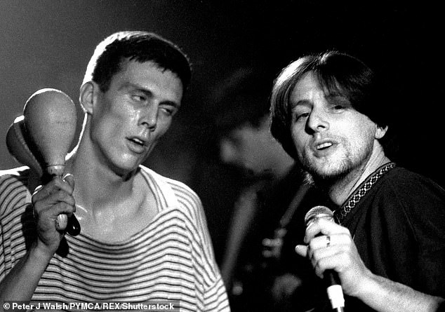 Scary: Last year, Shaun revealed he faced a fear of cancer during the first lockdown due to benign growth in his testicle (pictured with Bez in 1989)