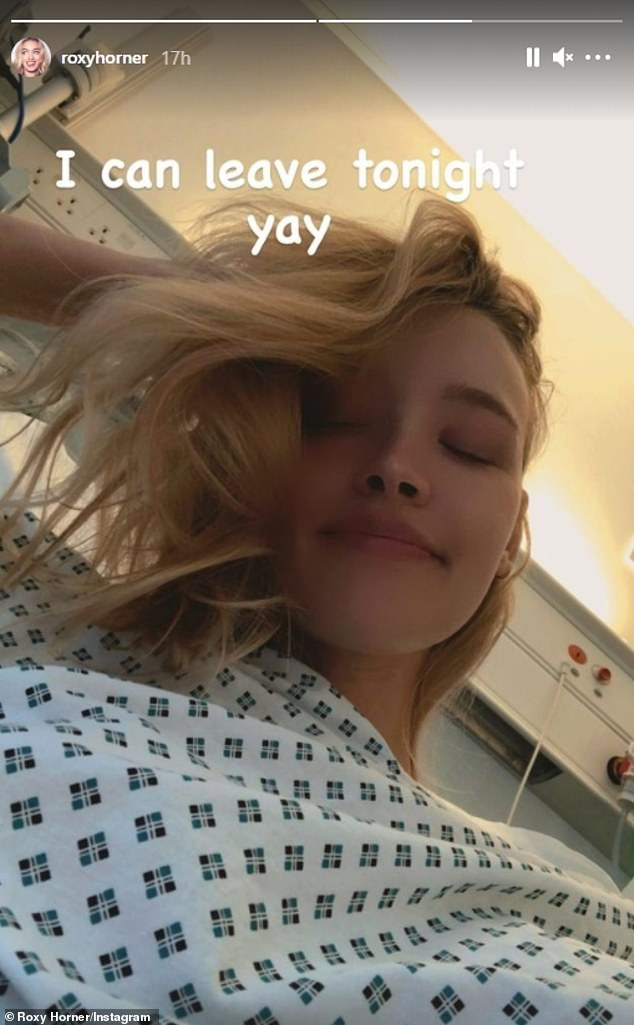 'I can leave tonight!' Roxy revealed she had been discharged from hospital on Monday after battling an autoimmune disease