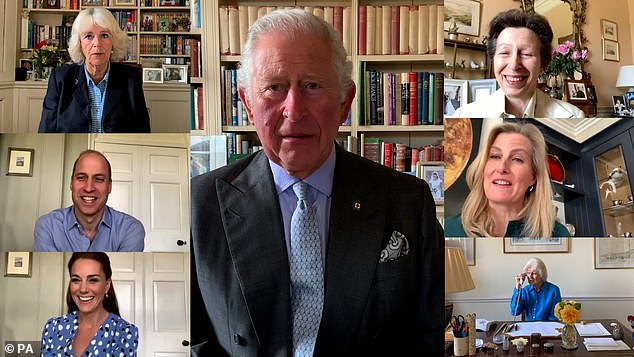 Most royals have embraced video calling in recent years, especially since the start of the pandemic when face-to-face meetings were not possible (pictured clockwise above left) The Duchess of Cornwall, The Prince of Wales, The Princess Royal, Sophie, The Countess of Wessex, Princess Alexandra and The Duke and Duchess of Cambridge, who have teamed up to call nurses around the world for the International Nurses Day as a sign of solidarity and thanks for the health profession facing the challenges of the coronavirus pandemic)