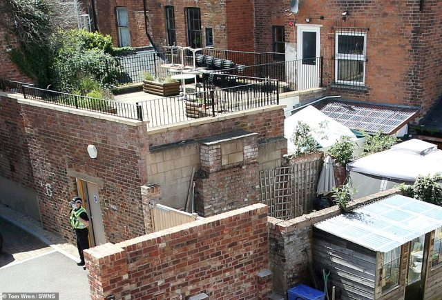 A forensics tent has been raised in the rear of theClean Plate cafe in Gloucester, which is also under police guard as officers hunt for the remains of 15-year-oldMary Bastholm, who disappeared 53 years ago