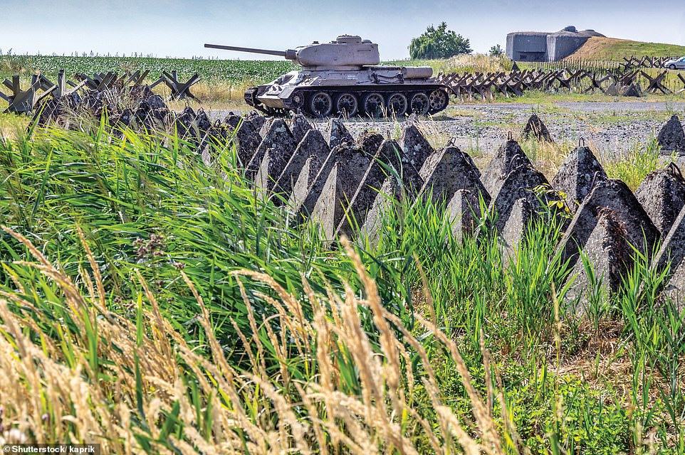 FORTIFICATIONS, HLUCIN, CZECH REPUBLIC: According to the author, the fortifications at Hlucin in the Czech Republic are 'yet another example of European defensive thinking in the 1930s, these being constructed between 1935 and 1938'. He adds: 'Framing a T-34 tank, here we see a blockhouse (top right) and a series of tank traps'