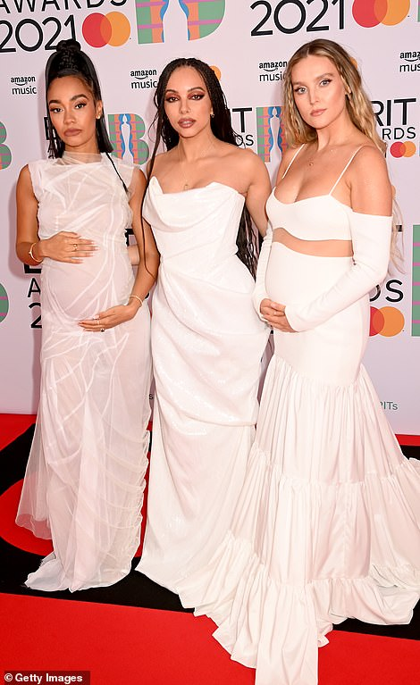 Matching: They all coordinated in glamorous white ball gowns