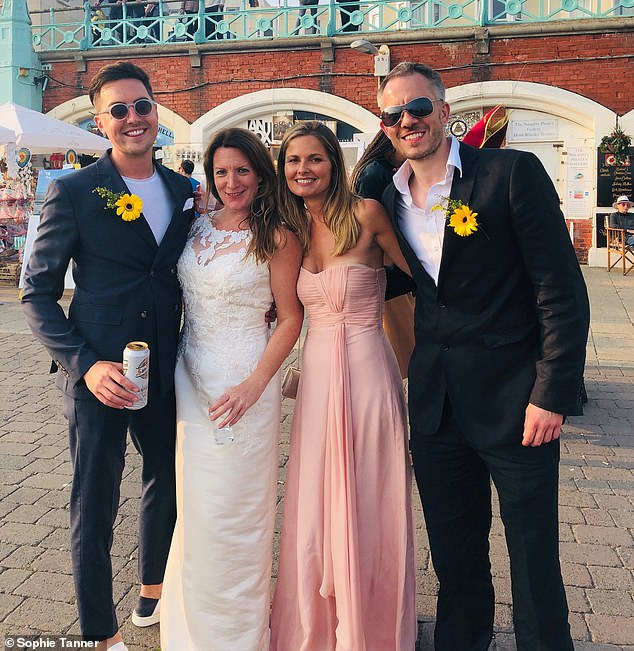 Sophie whose most recent relationship didn't work out, said she has more self respect when dating now. Pictured: Sophie celebrating her vow renewal with friends in 2019